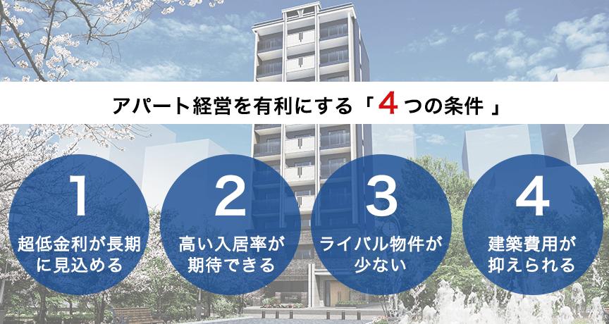 アパート経営を有利にする「4つの条件」